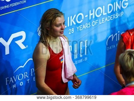 Kyiv, Ukraine - August 6, 2019: Sofiia Lyskun Of Ukraine Celebrates The Golden Medal In Womens 10m P