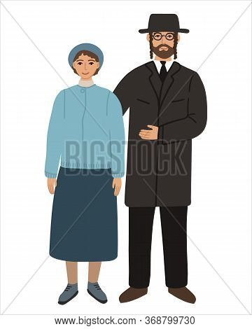 Jews Flat Husband And Wife Family. Couple Hindus Standing Together And Cuddling. Orthodox Jews Man A