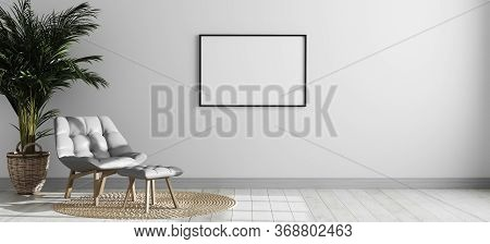 Blank Frame On Yellow Wall Mock Up, Vertical Black Poster Frame On Wall,  Picture Frame Isolated On