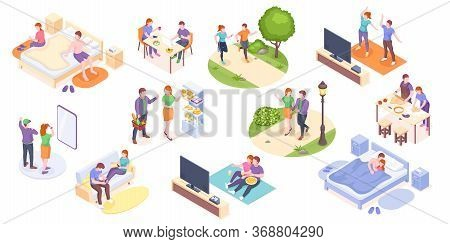 Couple Daily Life, Man And Woman Together, Vector Isometric Home Routine And Everyday Leisure Activi