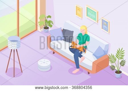 Cat Pet And Owner On Sofa At Home, Vector Isometric Illustration. Woman Or Girl Sitting On Sofa With