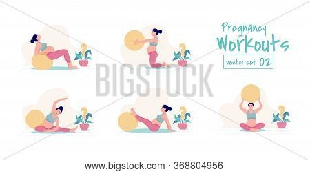 Prenatal + Pregnancy Workouts Set. Stability Ball Exercises. Working Out And Fitness, Pregnancy Conc