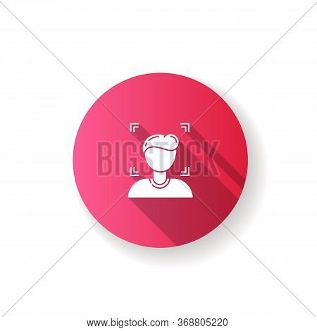 Facial Recognition Pink Flat Design Long Shadow Glyph Icon. Security Identification To Protect Priva