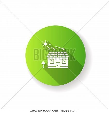 Solar Batteries Green Flat Design Long Shadow Glyph Icon. Ecological Power Generation For Home. Elec