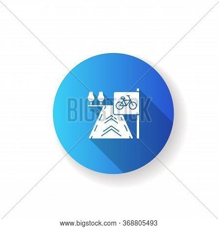 Bicycle Lane Blue Flat Design Long Shadow Glyph Icon. Path To Exercise On Bike. Pedestrian Street. R