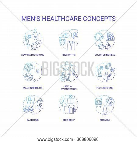 Mens Healthcare Concept Icons Set. Common Diseases And Health Risks For Men Idea Thin Line Rgb Color