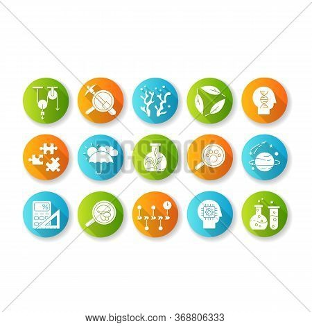 Formal And Pure Science Flat Design Long Shadow Glyph Icons Set. Different Scientific Disciplines An