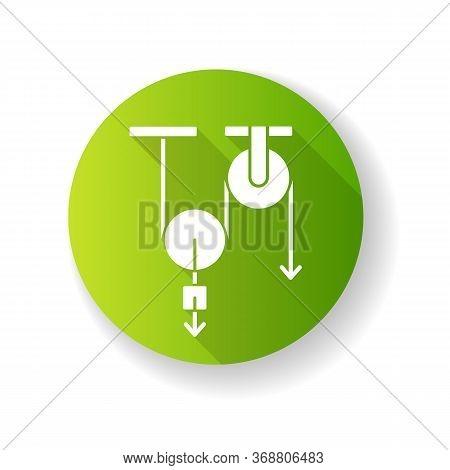 Physics Green Flat Design Long Shadow Glyph Icon. Fundamental Natural Science, Mechanics. Traditiona