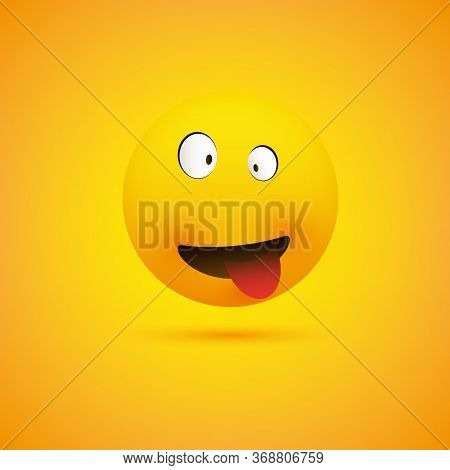 Simple Smiling Crazy Emoticon With Squinting Eyes And Tongue Stuck Out Making Face - Emoji On Yellow