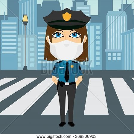 Police Officer Female Caucasian Blue Eyed With Virus Mask Hands Behind The Back With Blue Shirt Yell