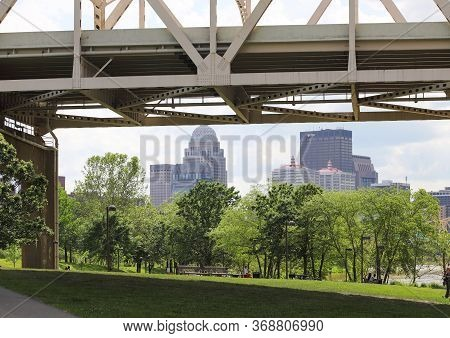 Louisville, Kentucky /usa-may 23, 2020: A View Of Downtown Louisville, Kentucky From The Waterfront
