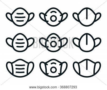 Face Mask Outline Symbols On White Background. Minimal Vector Icon Set.