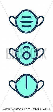 Respirator Mask Symbols On White Background. Flat Filled Contoured Vector Icon Set.