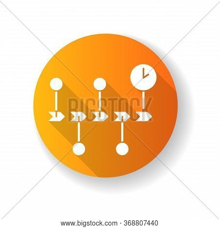 Chronology Yellow Flat Design Long Shadow Glyph Icon. Scientific Field Of Study, History Research, S