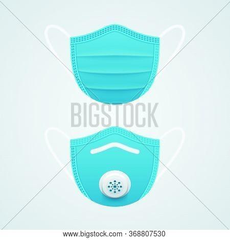 Medical Mask Symbols On White Background. N95 Mask Realistic Vector Icons.