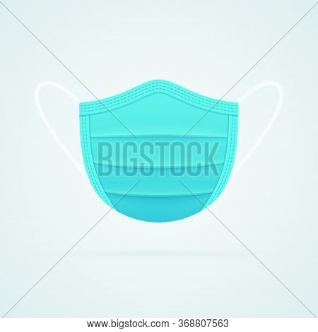 Medical Mask Symbol On White Background. Respirator Mask Realistic Vector Icon Front View.