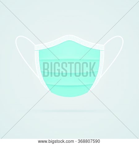 Face Mask Realistic Vector Icon Front View. Medical Mask Symbol On White Background.