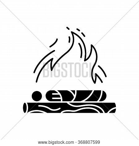Hindu Funeral Ceremony Black Glyph Icon. Indian Customs. Antyesti Ritual. Body Cremation. Last Sacri