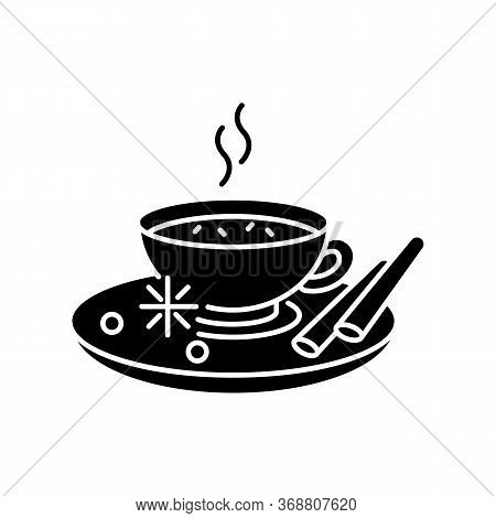 Masala Chai Black Glyph Icon. Indian Tea With And Herbs. Traditional Drink. Hot Beverage. Cocoa With