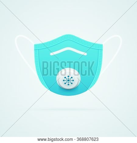 N95 Medical Mask Symbol On White Background. Respirator Mask Realistic Vector Icon Front View.