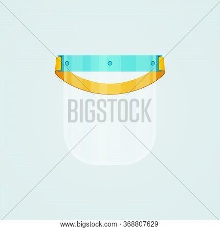 Medical Face Shield Plastic Mask On White Background. Coronavirus Covid-19 Protective Mask Equipment