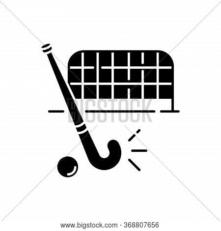 Field Hockey Black Glyph Icon. Indian National Game. Active Pastime. Team Sport. Sports Equipment An