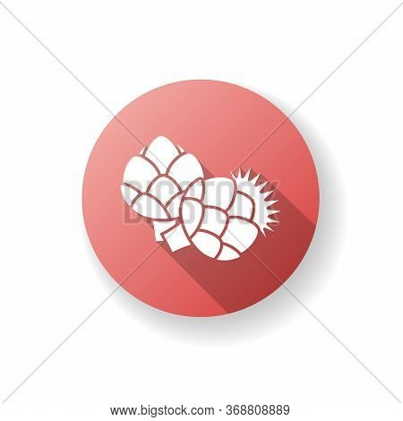 Artichoke Red Flat Design Long Shadow Glyph Icon. Fresh Vegetable To Cook Nutrient Recipe. Raw Veget