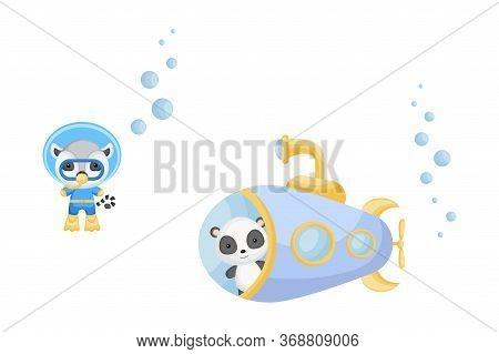 Cute Cartoon Panda Looks Out Of Submarine Window And Cute Lemur In Diving Suit Swim Underwater. Desi