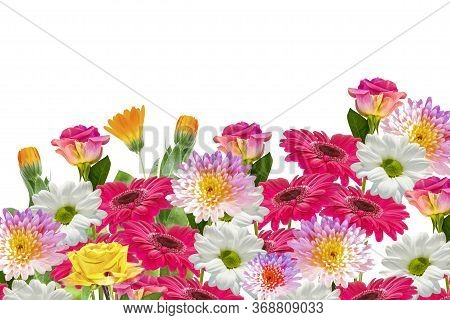 Colorful Vibrant Flowers Of Chrysanthemum, Gerbera, Roses Isolated On A White Background. Floral Bou