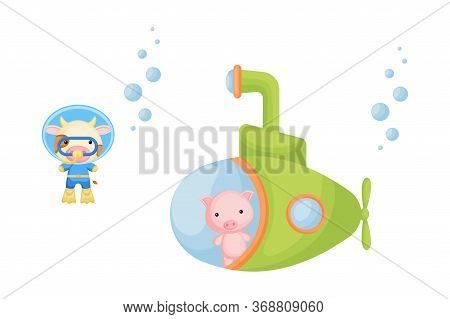 Cute Cartoon Pig Looks Out Of Submarine Window And Cute Cow In Diving Suit Swim Underwater. Design O