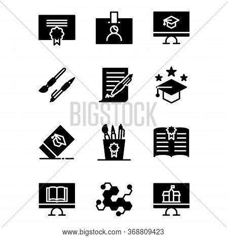 School Icon Set Include Certificate,id Card,pen,study,bachelor,eraser,equipment,book, Science,comput