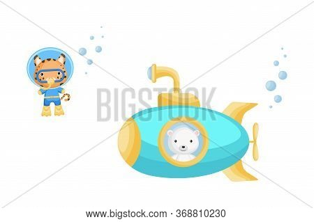 Cute Cartoon Polar Looks Out Of Submarine Window And Cute Lynx In Diving Suit Swim Underwater. Desig