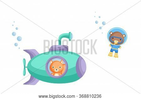 Cute Cartoon Squirrel Looks Out Of Submarine Window And Cute Bear In Diving Suit Swim Underwater. De