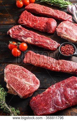 Set Of Fresh Raw Alternative Beef Steaks Flap Flank Steak, Machete Steak Or Skirt Cut, Top Blade Or