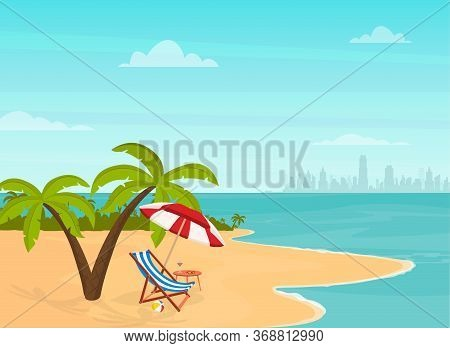 Hello Summer. Relaxing Scene On A Breezy Day, Deck Chair And Umbrella.