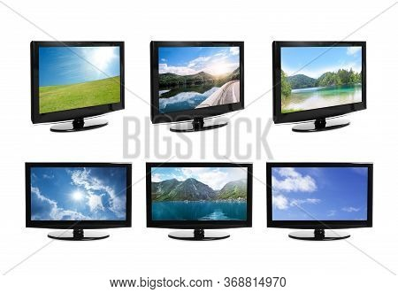 Set Of Modern Plasma Tvs With Landscape On Screens Against White Background