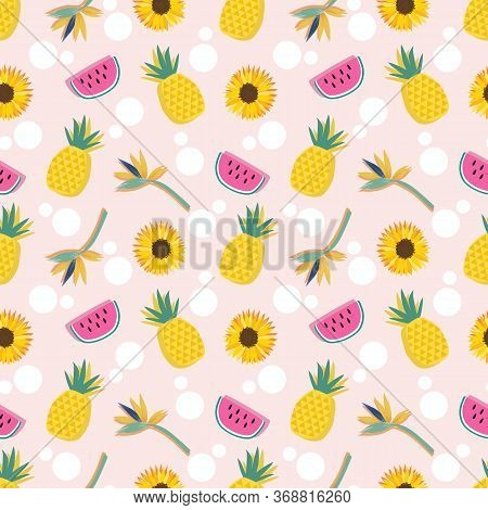 Summer Fruits And Flower Seamless Pattern. Fresh Fruit