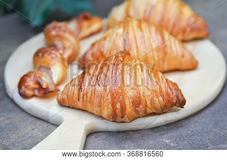 Croissant, French Croissants And Bacon Cheese Twist In The Woooden Board