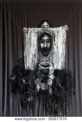 BAD URACH, GERMANY - OCTOBER 21, 2014: Lenten cloth by Sieger Koder in St. Joseph's Church in Bad Urach, Germany