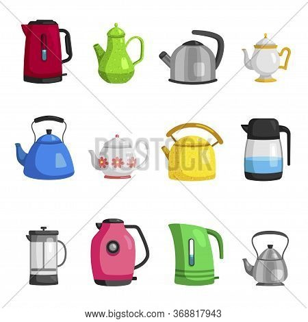 Kettles, Teapots, Jugs, Pitchers, Carafe Flat Set. Teakettles Classic And Modern.