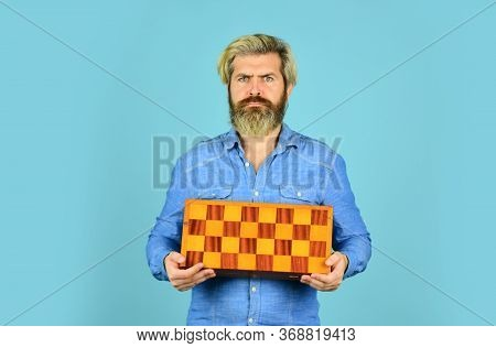 Chess Figures. Game Strategy Concept. Board Game. Man Playing Chess. Hobby And Leisure. Intellectual