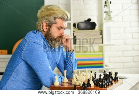 Thinking About Next Step. Chess Lesson. Strategy Concept. Playing Chess. Intellectual Hobby. Develop