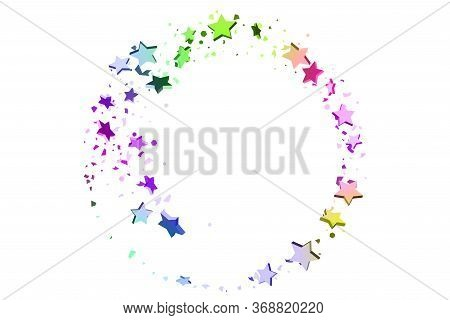 Starry Confetti. Falling Star Background. Random Stars Shine On A White Background In Blue, Pink, Gr