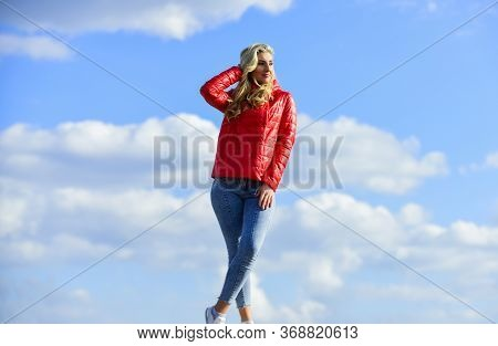 Female Psychology. Woman Fashion Model Outdoors. Woman Enjoy Cool Weather. Fashion Outfit. Windy Day