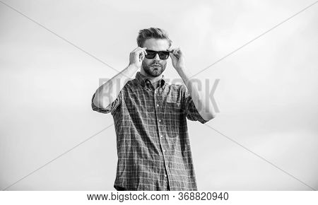 Menswear. Businessman In Glasses. Confidence And Charisma. Macho Man Unshaven Face. Men Beauty And S
