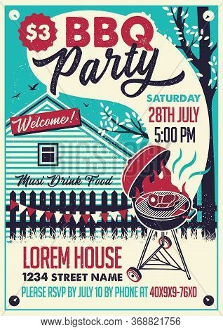 Bbq Party On The Backyard. Vector Poster Illustration.