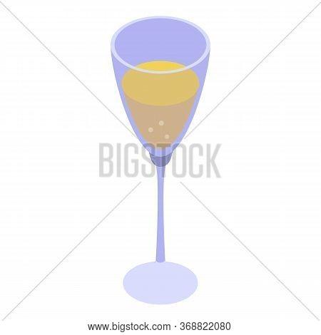 Wedding Champagne Glass Icon. Isometric Of Wedding Champagne Glass Vector Icon For Web Design Isolat