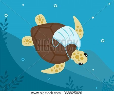 Tropical Turtle With Medical Surgical Protective Face Mask Around Its Neck Floats Along Bottom Of Oc