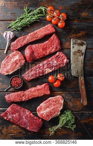 Set Of Flap Flank Steak, Machete Steak Or Skirt Cut, Top Blade Or Flat Iron Beef And Tri Tip, Triang