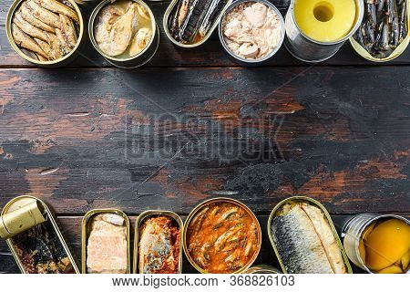 Copyspace Concept For Text Between Two Lines Of Various Canned Prepared Vegetables, Meat, Fish And F